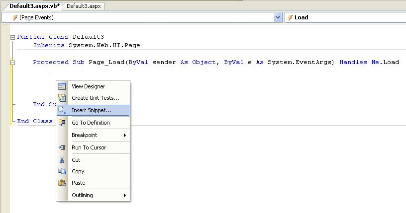 ScottGu's Blog - Code Snippets in Visual Web Developer and