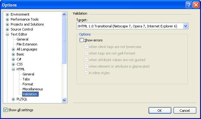 ScottGu's Blog - HTML Validation Checking in VS 2005 (and