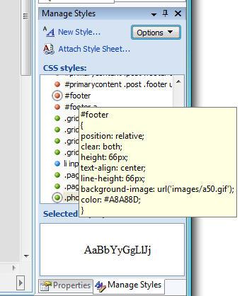 ScottGu's Blog - VS 2008 Web Designer and CSS Support