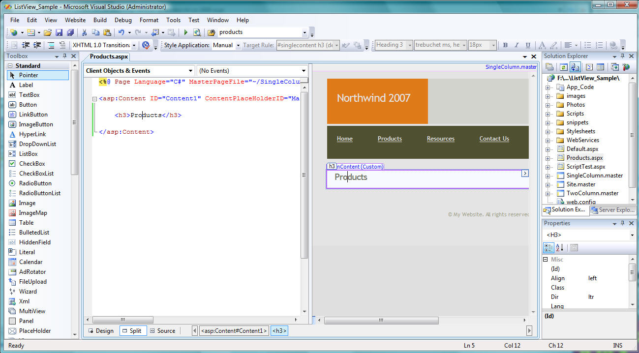 Simple tutorial asp. Net modelbinding listview entity example.