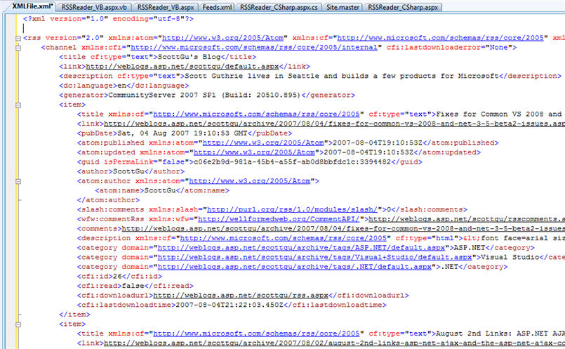 For an example of this in action, let's take a look at the XML of my blog's RSS feed (http://weblogs.asp.net/scottgu/rss.aspx):